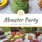 Green monster birthday cake with marshmallow eyes on a decorated table above a title and description overlay with a table of monster-themed party food below