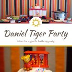 Food for a Daniel Tiger birthday party on a table with red, orange, and black streamers behind above a title overlay with a close-up of a round white cake with Daniel Tiger, trolley, and friends on top