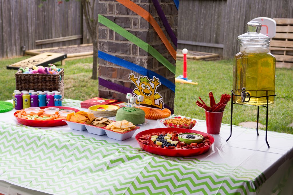 Monster birthday party food on a table