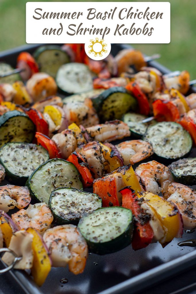 Summer Basil Chicken and Shrimp Kabobs