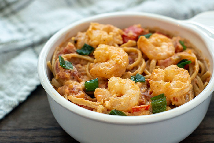 Shrimp in a bowl with noodles