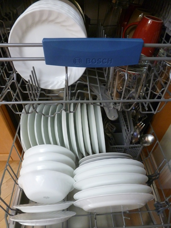 Dishes loaded in a dishwasher