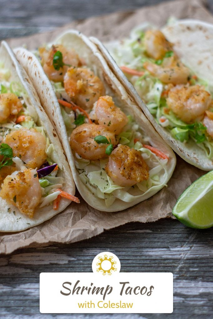 Shrimp Tacos with Coleslaw vertical with title overlay