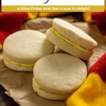 3 Canary Creams on a piece of brown butcher paper surrounded by a Gryffindor scarf on a wooden surface (vertical with title and description overlay)
