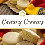 2 photos of 3 Canary Creams on a piece of brown butcher paper surrounded by a Gryffindor scarf on a wooden surface with a title overlay in the middle