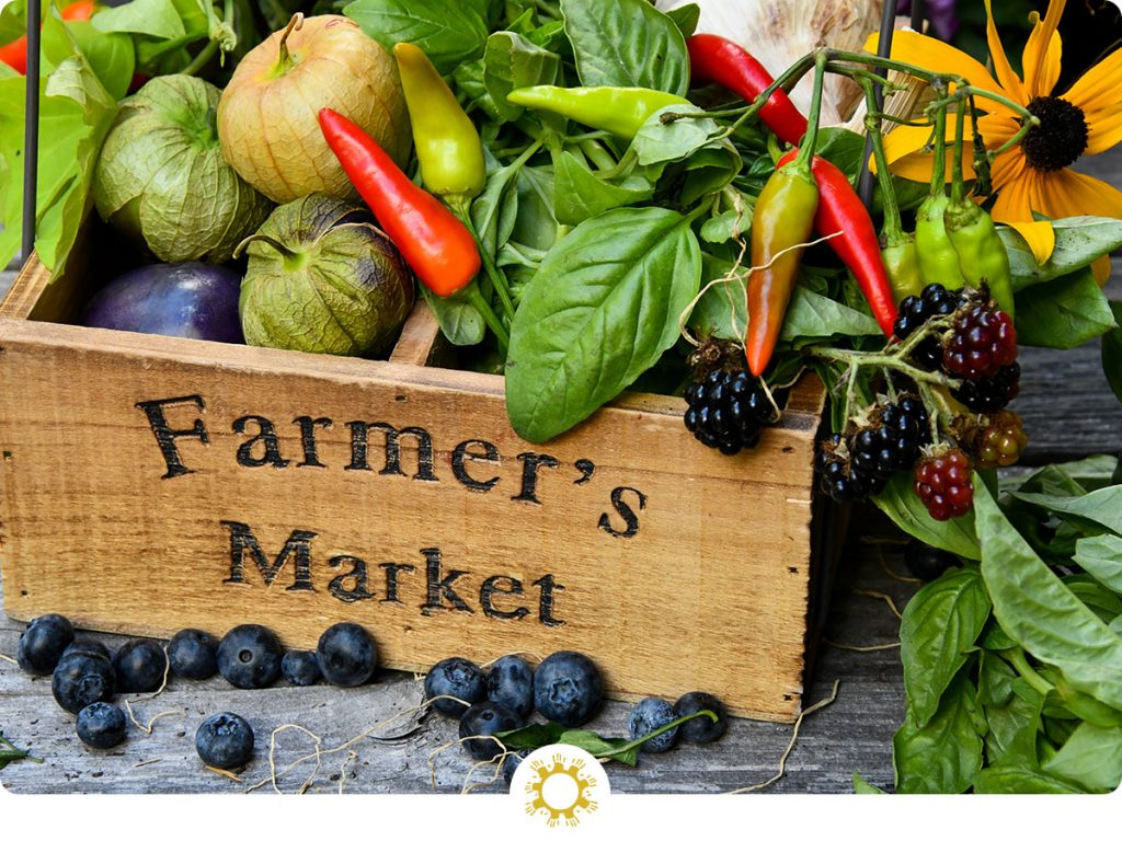 "Mix of fruits, vegetables, and herbs in a wooden box with the words ""Farmer's Market"" on the front (with logo overlay)"
