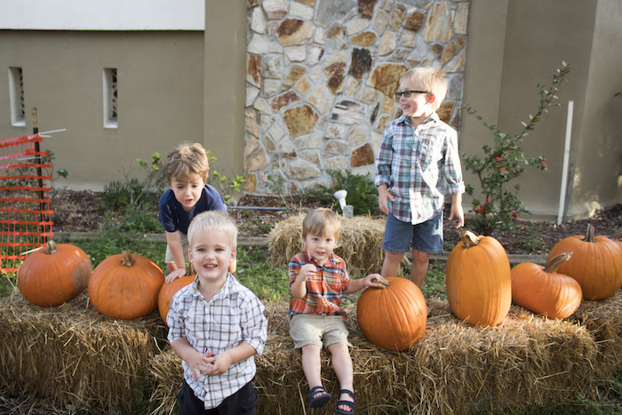 Four young boys at the pumpkin patch