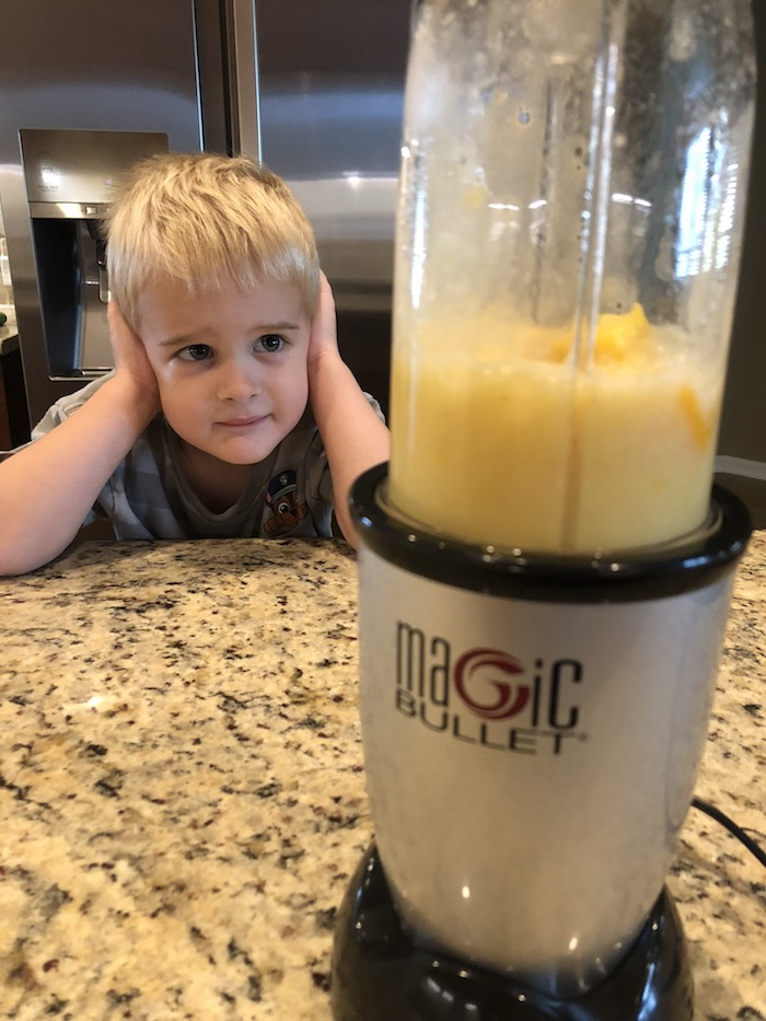 Young boy covers his ears while the blender is running