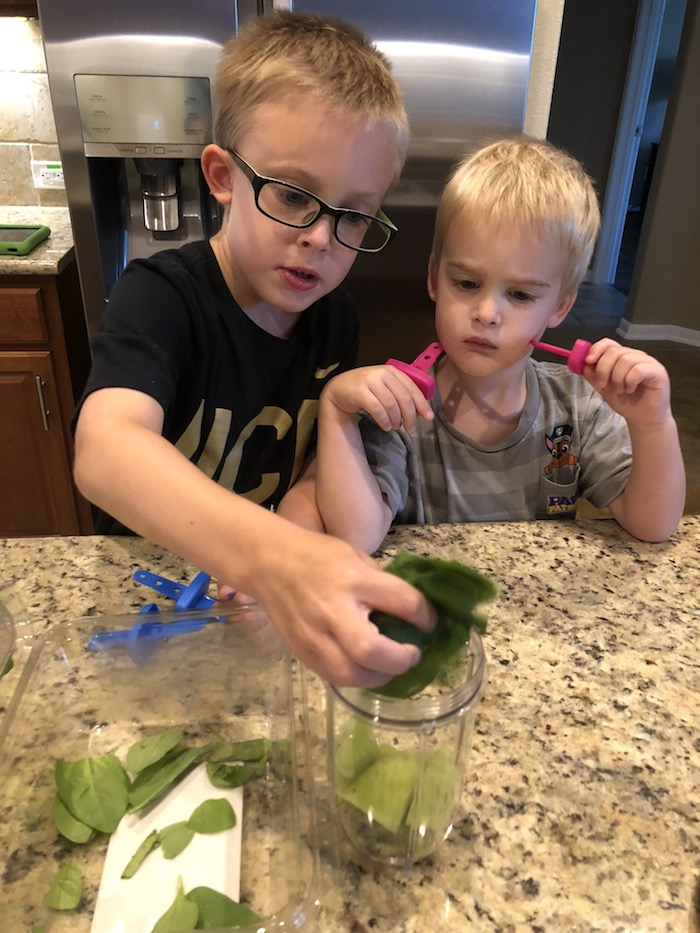 Young boys adding spinach leaves into a blender cup