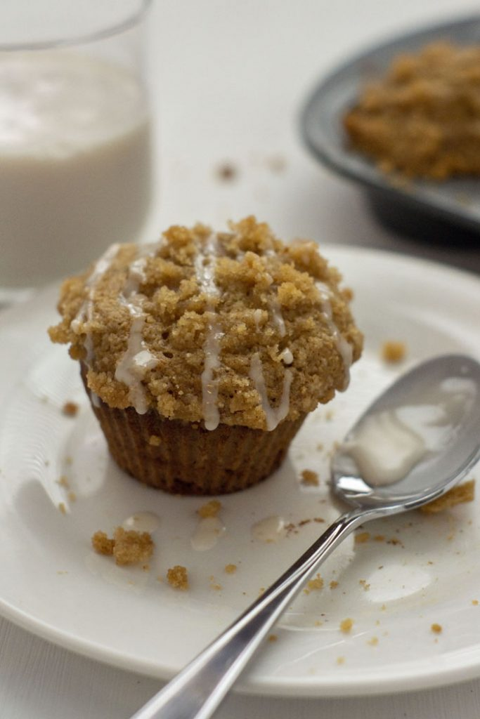Banana Muffins with Streusel and Icing