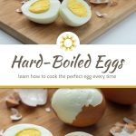 Hard boiled eggs on a bamboo tray on a white surface (with title overlay)