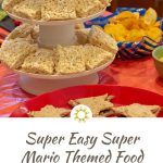 Super Easy Super Mario Themed Food with question block rice krispies and star shaped sandwiches on a red tablecloth (with title overlay)