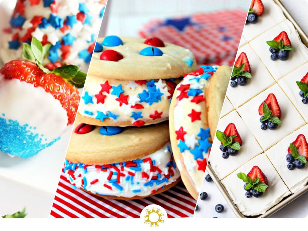 Collage of patriotic desserts with logo overlay