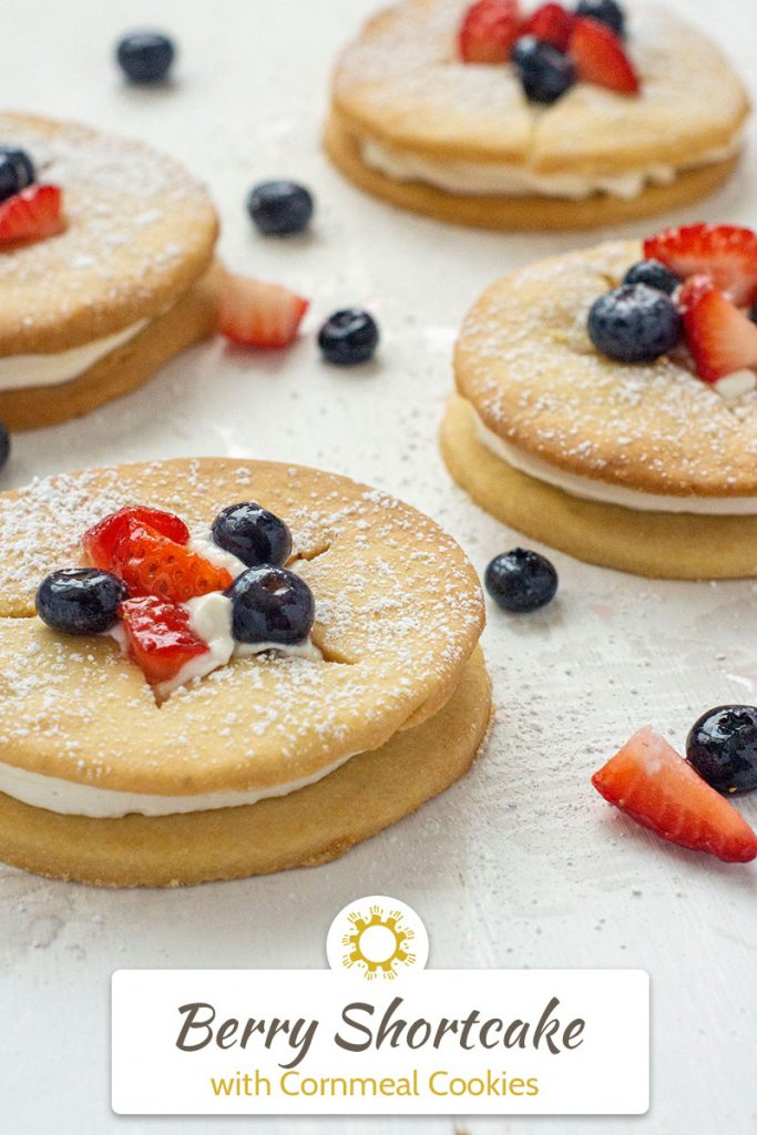 Berry Shortcake with Cornmeal Cookies (vertical) with title overlay