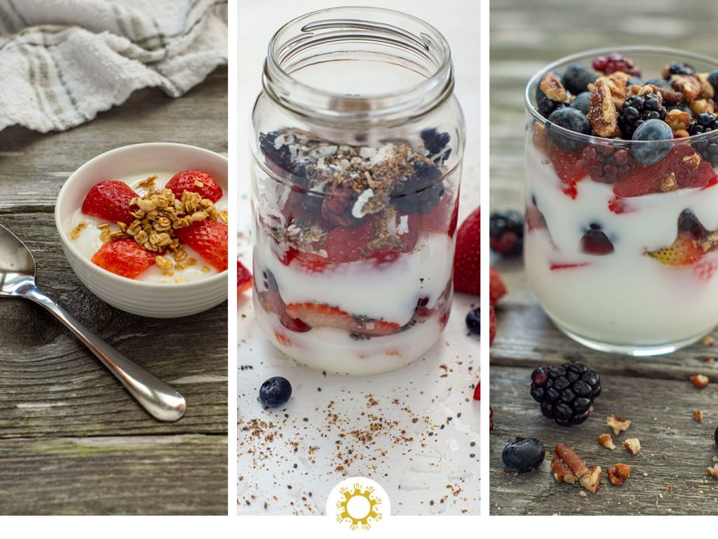 Collage of 3 yogurt parfaits (with logo overlay)