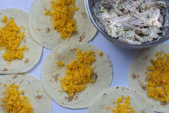 Tortilla shells laid out next to each other with shredded cheddar cheese in the center of each next to a stainless steel bowl of chicken and sour cream mixture all on a white surface