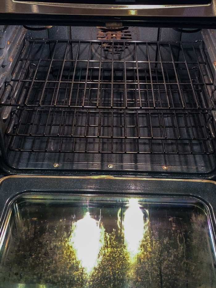 Clean oven with clean racks back inside