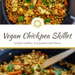 2 photos of Chopped cauliflower, baby carrots, and chickpeas topped with mint leaves with a wooden spoon in a large nonstick skillet on a wooden surface with a title overlay in the middle