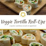 Veggie tortilla pinwheels on a bamboo tray with a white and brown towel behind all on a wooden surface (with title overlay)