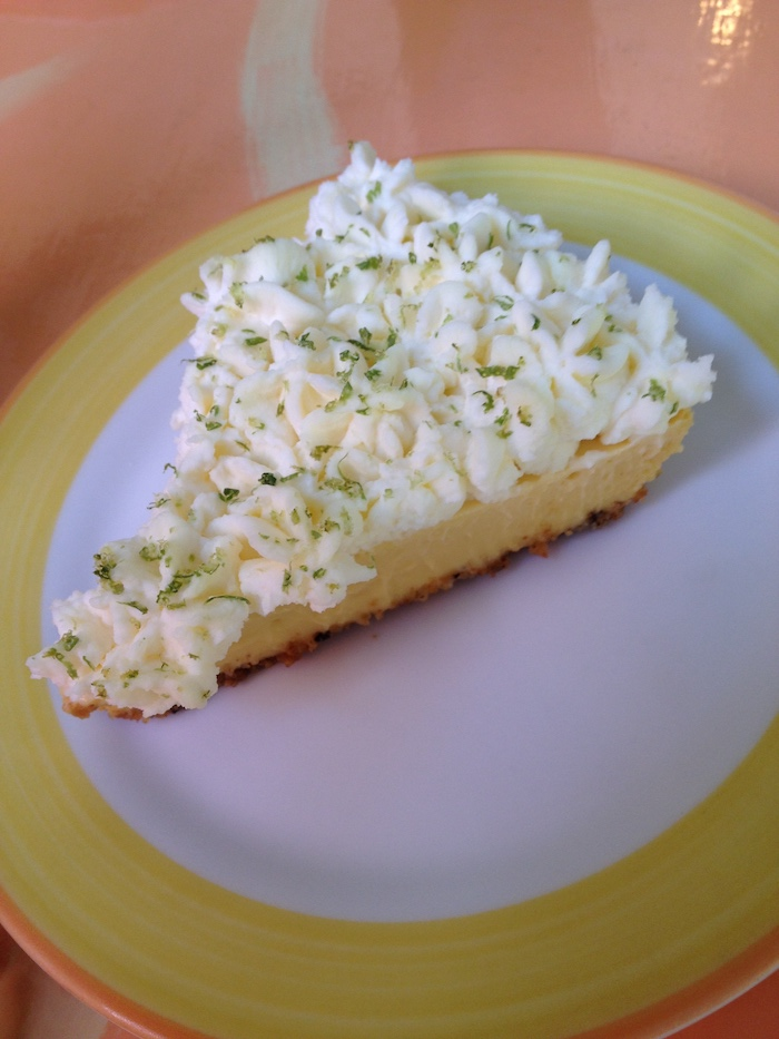 Key lime pie on a plate from a restaurant in Key West, Florida