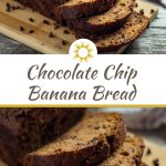 Loaf of chocolate chip banana bread with a few slices cut off on a bamboo tray with a white and brown towel behind all on a wooden surface (with title overlay)