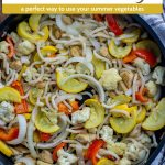 Summer Veggie Stir-Fry in a large skillet next to a white and brown towel on a wooden surface (with title overlay)
