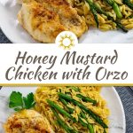 Honey Mustard Chicken with Orzo and asparagus on a white and grey marbled plate on top of a grey placemat (with title overlay)