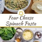 Four Cheese Spinach Pasta garnished with parmesan cheese in a round white bowl with a white and blue towel behind all on a wooden surface (with title overlay)