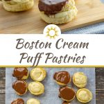 Three Boston Cream Puff Pastries on a bamboo tray on a grey tablecloth on a wooden surface (with title overlay)