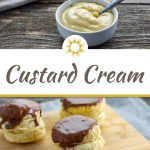 Custard cream or pastry cream in a round white dish with a spoon stick out wiht a bamboo tray of desserts behind on a grey cloth all on a wooden surface (with title overlay)