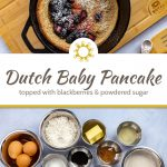 Dutch baby pancake topped with powdered sugar and blackberries in a cast iron pan on a bamboo tray with a black and white towel behind and wooden spoons in front all on a white and blue surface (with title overlay)