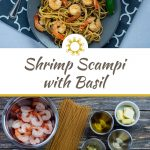 Shrimp scampi with basil on a round gray plate on top of a grey and white placemat with a stainless steel fork and a glass of water all on a white surface (with title overlay)
