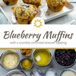5 blueberry muffins with cornmeal streusel on a square white plate with a stainless steel fork and knife in front and a white square bowl of blueberries and a glass of milk behind next to a white towel all on a white wooden surface (with title overlay)